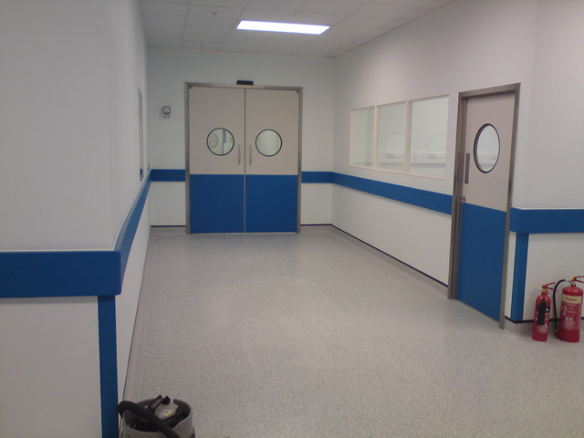 GRP clean room doors with stainless steel door frames