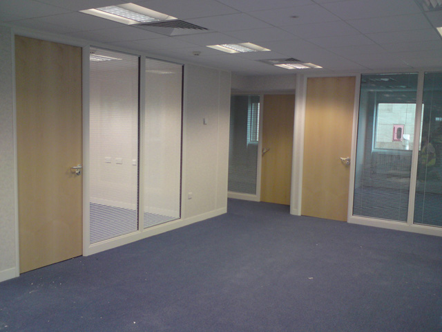 Oak veneer office partition doors