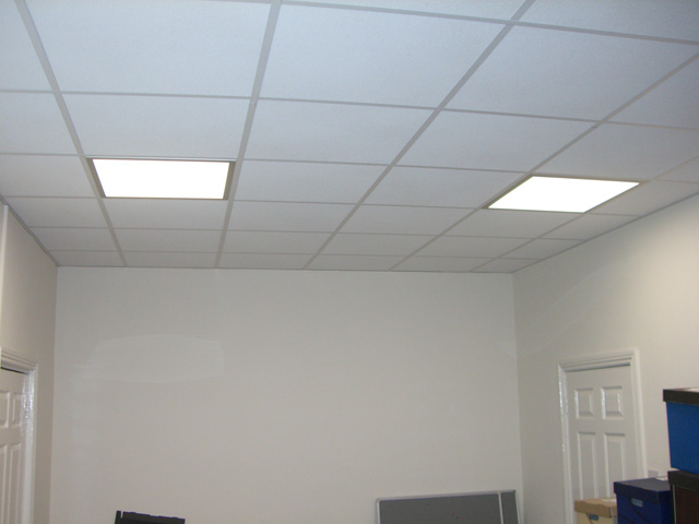 Suspended ceiling with recessed LED lighting at offices in Exeter, Dorset