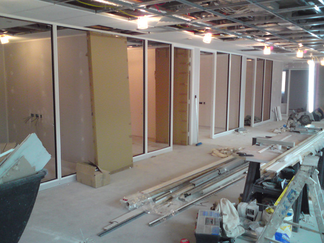 White powder coated glazed office partitions